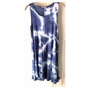 Blue Poetry Tie Dye Summer Dress